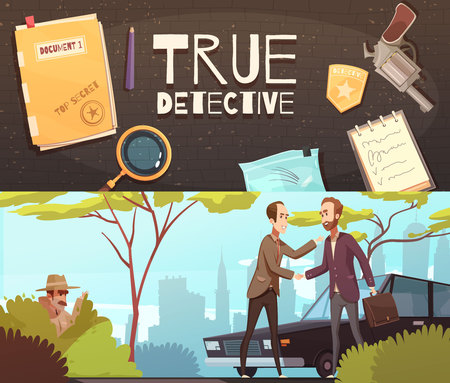 Set of two horizontal banners with doodle style flat images of detective accessories and story episode vector illustration.