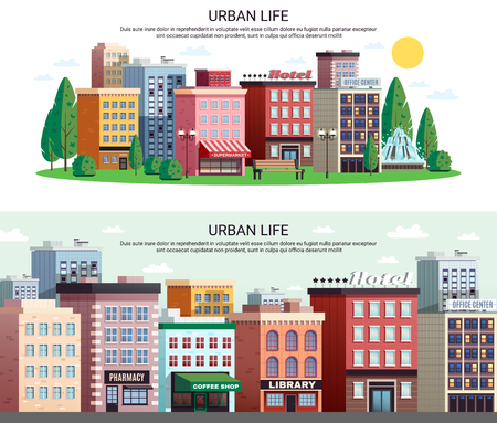 Urban life horizontal banners with picturesque town center shopping area houses with zoom effect isolated vector illustration Stock Illustratie