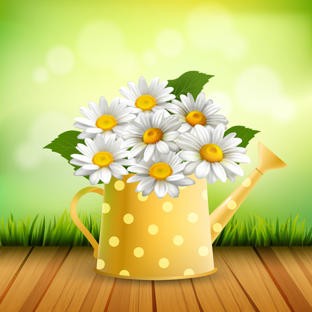 Armful of Daisy realistic composition with bouquet of chamomiles in yellow colorful watering can vector illustration.