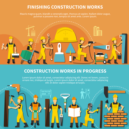 Construction worker flyer set with workers Ilustrace