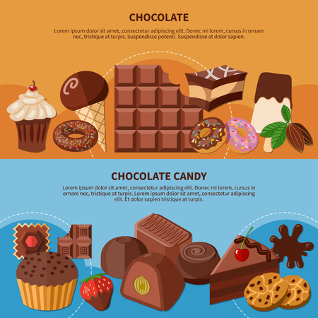 Set of flat horizontal banners with chocolate bar, icecream, cupcake and candies isolated vector illustration Illustration
