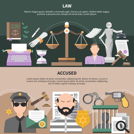 正義の警官のスケールで設定された法律の水平バナーと編集可能なテキストベクトルのイラストで人間のキャラクターを非難。