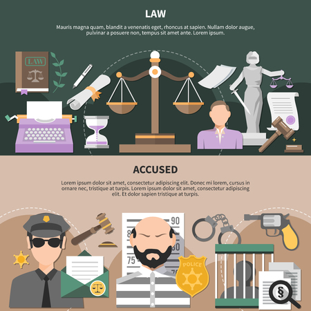 Law horizontal banners set with scales of justice policeman and accused human characters with editable text vector illustration.