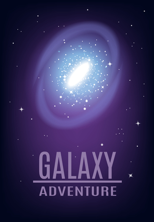 Galaxy spiral realistic composition with colourful image of starry arch and cluster of stars with editable text vector illustration