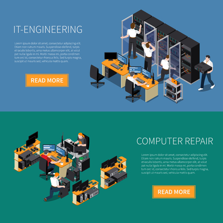 Information technology engineering specialist and computer repair service horizontal banners set 3d isometric isolated vector illustration