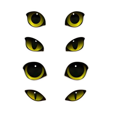 Émotions de chat yeux ensemble réaliste d'images isolées avec des yeux félins ouverts et semi-fermés. Illustration vectorielle.