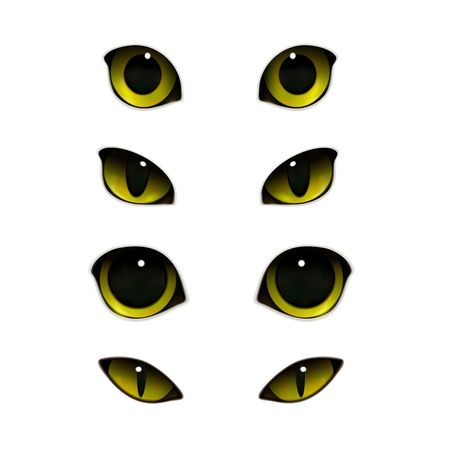 Kat emoties ogen realistische set van geïsoleerde afbeeldingen met open en half gesloten katachtige ogen. Vector illustratie