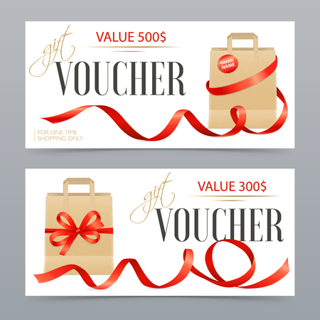 Two different value realistic vouchers decorated with red satin ribbons on luxury gift bags isolated vector illustration Foto de archivo - 95885824