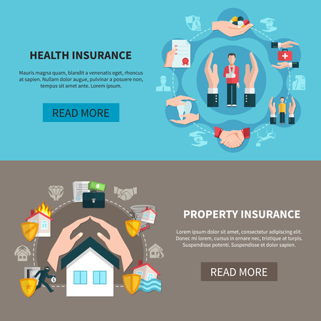 Horizontal banners with insurance vector illustration