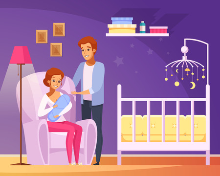 Vector illustration of parents with their new born baby in the nursery room. Ilustração