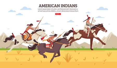 Ethnic background with armed american indians riding horses across prairie against mountains cartoon vector illustration.