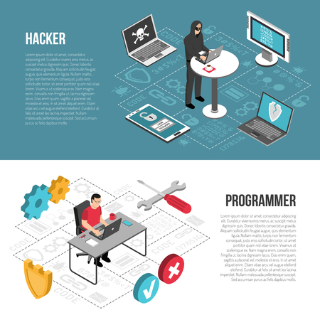 Set of horizontal isometric banners with hacker cracking computers and programmer during work isolated vector illustration Illustration