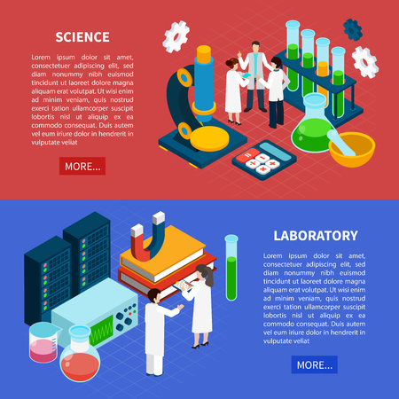 Science horizontal isometric banners set with laboratory symbols isolated vector illustration