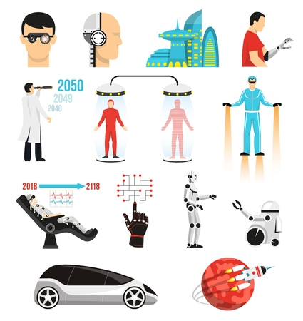 Futurology icons set with bionic medicine, human cloning, cryopreservation, future city, space tourism isolated vector illustration