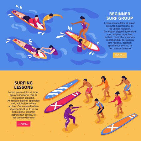 Surf school for adult horizontal banners with beginner surf group and surfing lessons isometric compositions vector illustration Vectores