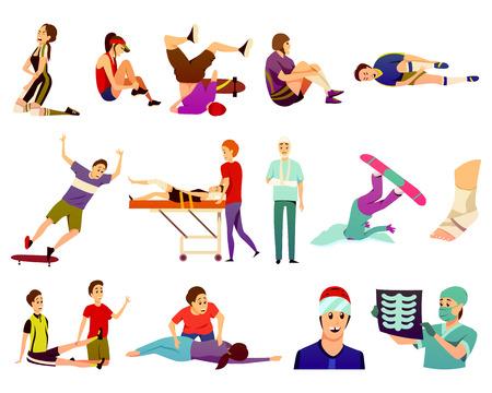 Sport letsel plat kleurrijke pictogrammen collectie van geïsoleerde atleten die lijden aan trauma's en sport geneeskunde artsen vector illustratie