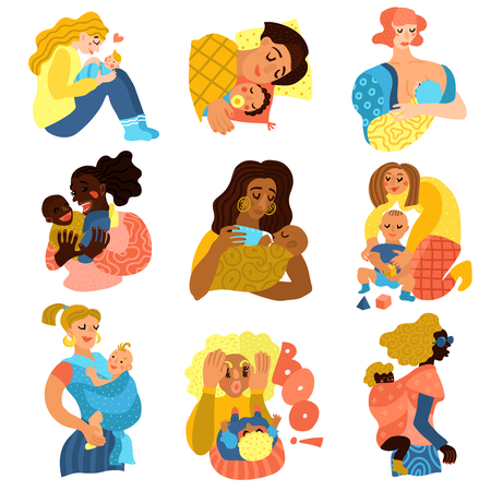 Motherhood icons set with baby and woman relations symbols flat isolated vector illustration Vettoriali