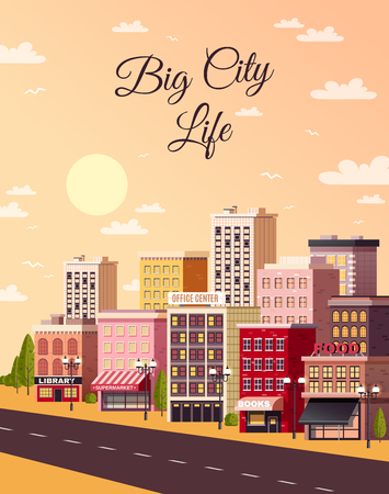 City sunset light background poster with empty street and colorful roadside shopping area town houses vector illustration