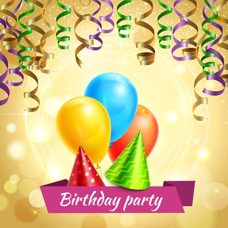 Birthday party accessories with glittering cone hats serpentine streamers and balloons realistic invitation card poster vector illustration  イラスト・ベクター素材