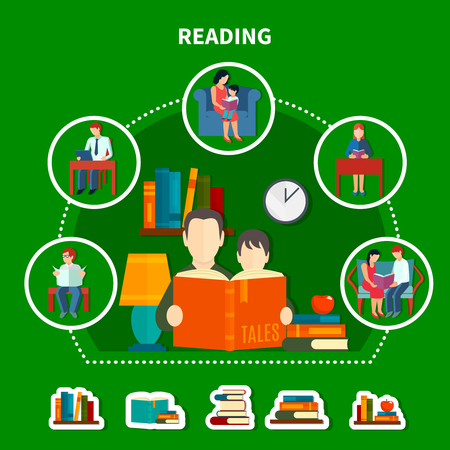 People reading literature composition on green background with stacks of books, interior elements vector illustration. Illustration
