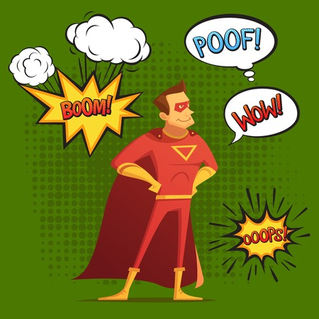 Super hero in red costume, composition with sound and emotion bubbles green background.