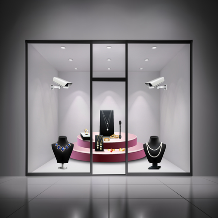 Two surveillance cameras in jewellery shop window realistic background vector illustration Illustration