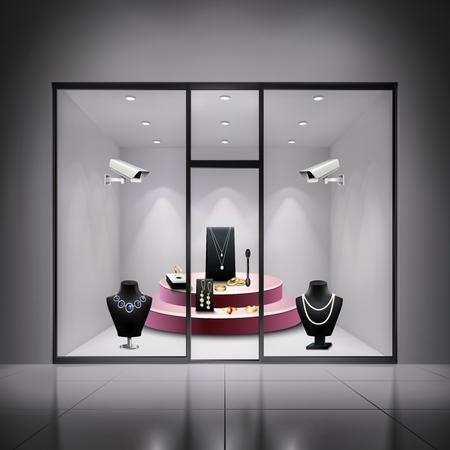 Two surveillance cameras in jewellery shop window realistic background vector illustration Stock Illustratie