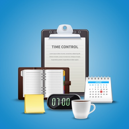 Time management realistic concept with different attributes of time control at the work vector illustration 向量圖像