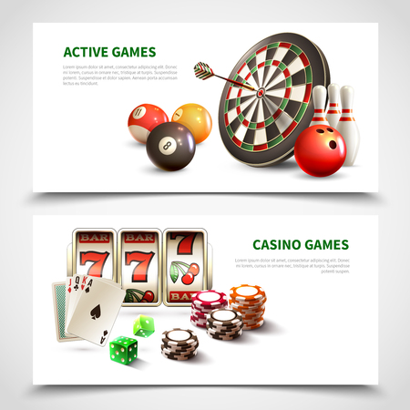 Two horizontal games realistic banner set with active and casino games headlines vector illustration Illustration
