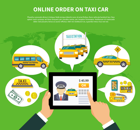 Taxi conceptual composition of tablet with taxi rent application thought bubbles taxicab icons money and text vector illustration. Stock Illustratie