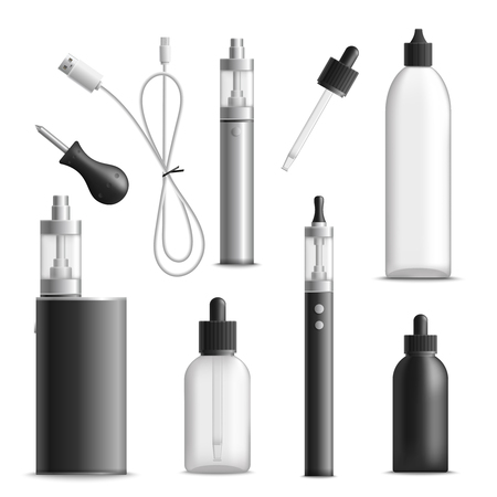Vaping realistic set with isolated images of vaporizer devices vials for vape liquid and charging wire vector illustration. Stockfoto - 96368849