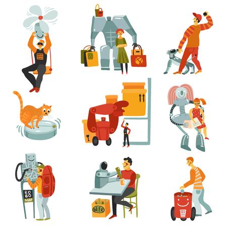 Robots set with technology symbols flat isolated vector illustration. Illustration