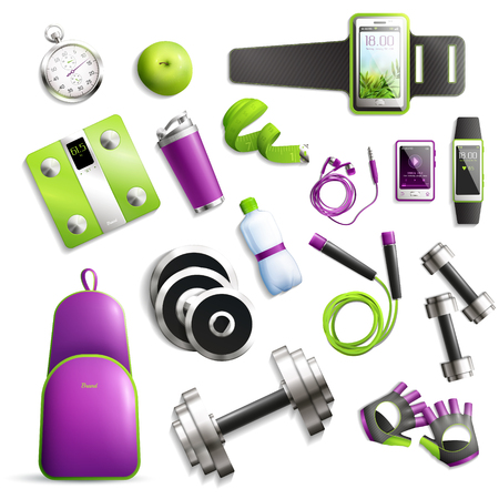 Fitness gym realistic set with equipment and accessories symbols isolated vector illustration Ilustração