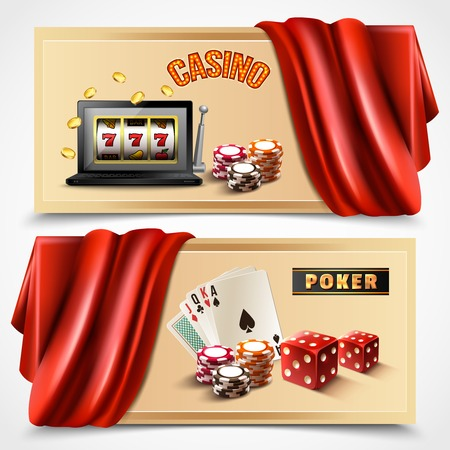 Two horizontal casino realistic banner set with casino and poker headlines stylish and colored vector illustration