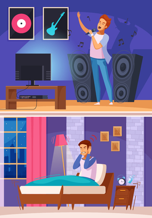 Neighbor during karaoke with loud music and angry sleepless man in bed cartoon composition vector illustration.