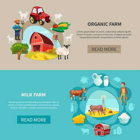 Two cartoon and horizontal farm banner set with organic and milk farms descriptions vector illustration Ilustração
