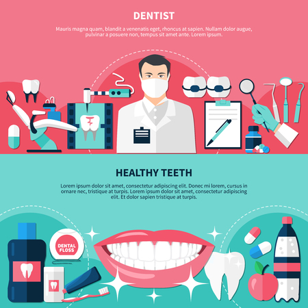 Healthy teeth horizontal banners with doctor figurine dentistry instruments and white smile flat icons vector illustration.