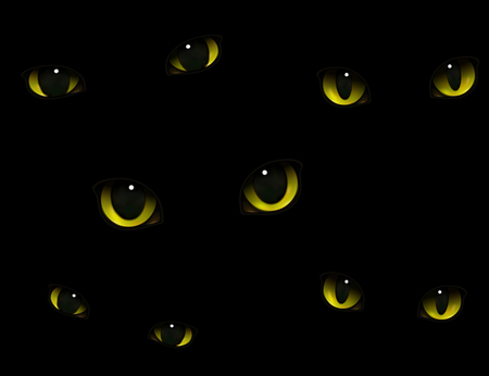 Monster animals cats eyes glowing in darkness realistic decorative expressive composition black background vector illustration