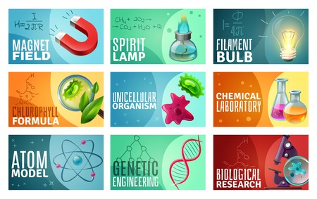 Set of science isolated vector illustration