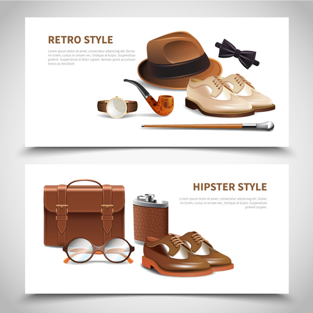 Retro and hipster styles gentleman accessories in two horizontal realistic banners set with leather shoes isolated vector illustration.