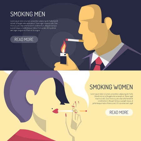 Smoking men women 2 horizontal banners webpage design with summary text and read more button vector illustration