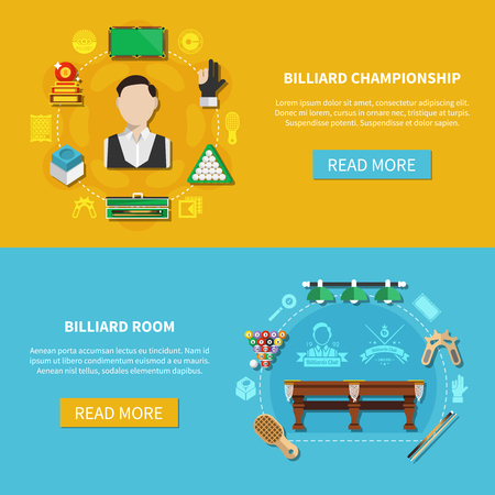 Horizontal banners with billiard championship, game room with equipment isolated on blue and yellow background vector illustration