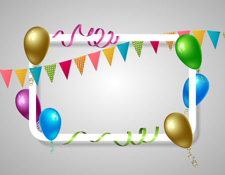 White rectangle frame with realistic holiday elements including colorful balloons, flags, streamers on grey background vector illustration
