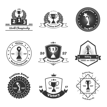 World cup championships competitions festivals tournaments winners awards trophies emblems icons collection isolated black white vector illustration Foto de archivo - 96234316