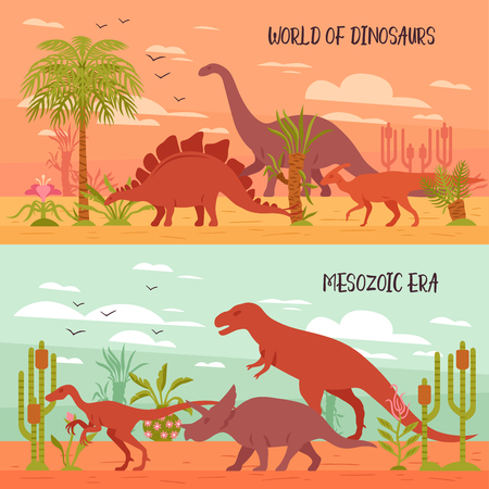 Two horizontal dino banners collection with images of prehistoric landscape with plants and dinosaur flat characters vector illustration Vettoriali