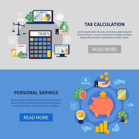 Flat horizontal banners with tax calculation and personal savings isolated on grey and blue background vector illustration    Ilustração