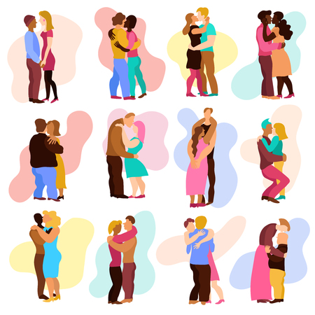 Love hugs set with man and woman relations symbols flat isolated vector illustration