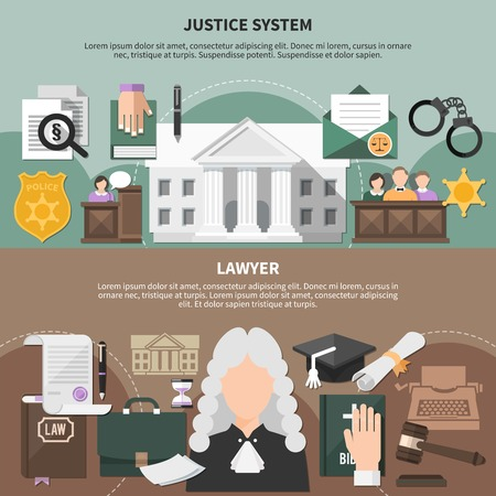 Set of two horizontal law banners with editable text and compositions of flat justice related images vector illustration