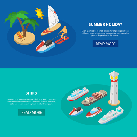 Set of horizontal isometric banners with boats for summer holiday and commercial ships isolated vector illustration