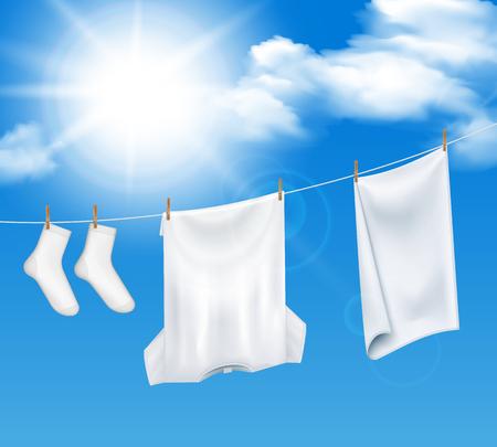 洗濯洗濯洗濯空背景透明な天国と白い服のリアルな組成物は、太陽ベクトルイラストで乾燥  イラスト・ベクター素材